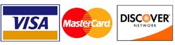 Credit Card Logos: Visa, Mastercard, Discover