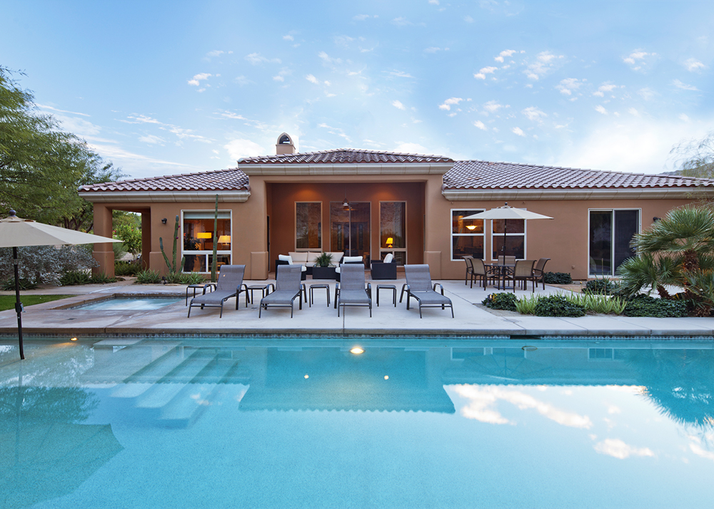Residential home with pool and spa.